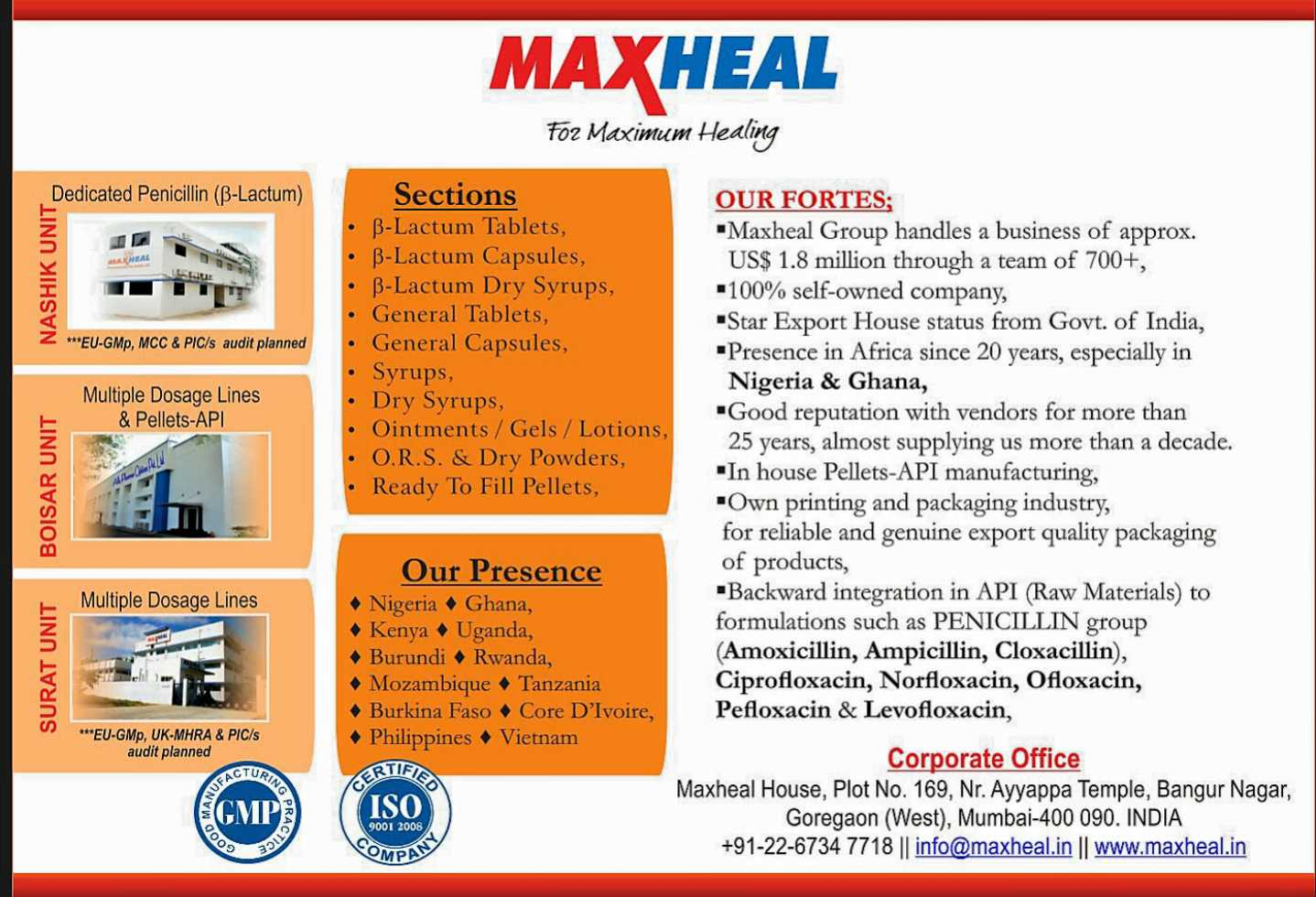 MAXHEAL Pharmaceuticals (I) Ltd.